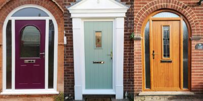 Three front door in different colours